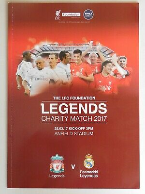 PROGRAMME  LIVERPOOL REAL MADRID  LEGENDS ( Mars 2017)