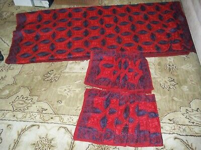 VINTAGE HEAVY EMBROIDERED RED NAVY 10 ft BANQUET TABLECLOTH & 12 NAPKINS A MUST