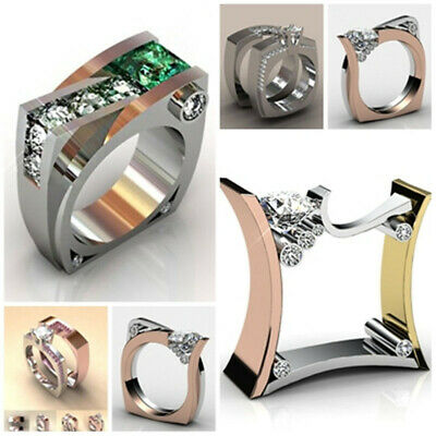 Cool 925 Silver Natural White Topaz Emerald Couple Ring Band Wedding Size 6-10
