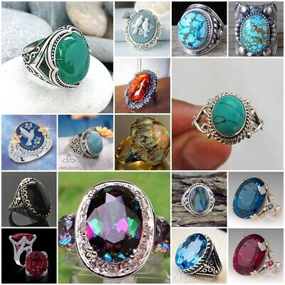Vintage 925 Silver Huge Round Turquoise Ring Women Wedding Jewelry Size 6-10