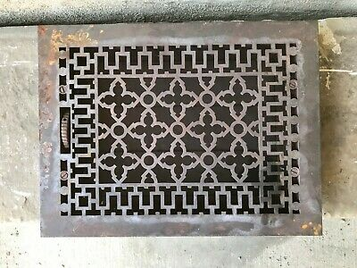 "Antique Cast Iron Wall, Floor Grate Vent - Refinished - Black -(12"" x 16"") (#10)"