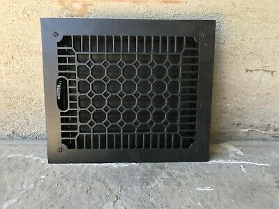 "Antique Cast Iron Wall, Floor Grate Vent - Refinished - Black - (11"" x 14"") (#6)"