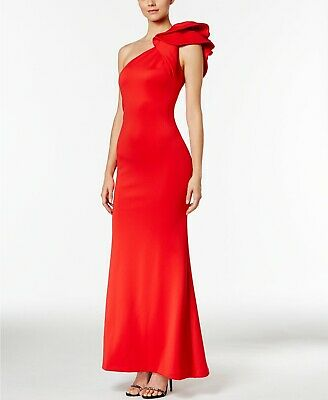 Betsy & Adam 380$ Womens Red Ruffled One Shoulder Evening Dress Gown Size 8