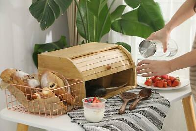 Natural Wooden Roll Top Bread Box Kitchen Food Storage (Big Size Self-assembly)