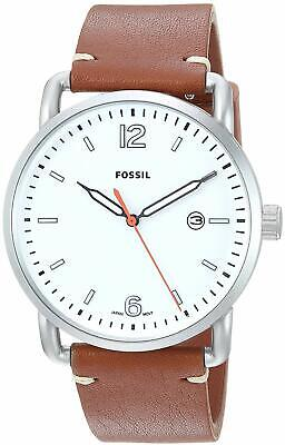 Fossil Commuter Date 42mm White Dial Brown Leather Men's Watch FS5395 SD