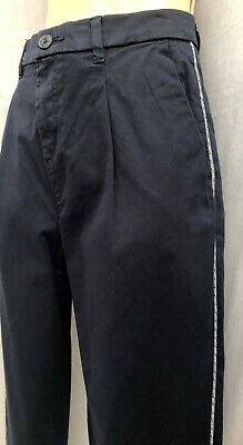 Womens ESPRIT Branded tapered Chino Trousers Pants Navy Side contrasted cord NEW