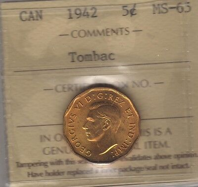1942 Tombac Canada Five Cents Coin. George VI Nickel ICCS MS-65 UNC Free SH