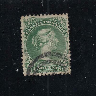 CANADA # 24 VF-2cts GREEN LARGE QUEEN # IN CIRCLE CANCEL CAT VALUE $130