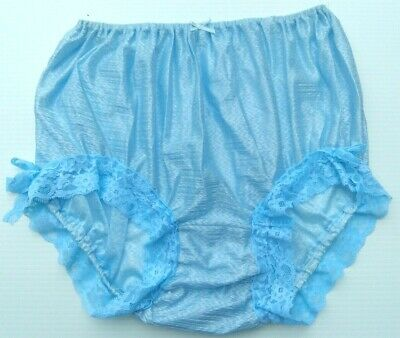 Underwear Panties Lace Briefs Nylon Sheer LGBTQ Woman Man Light Blue 2XL