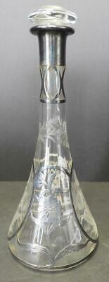 Antique Silver Overlay and Floral Etched Liquor Wine Decanter
