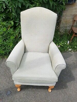 Armchair - Quality Comfy Pale Green Fabric Highback Wing Armchair.