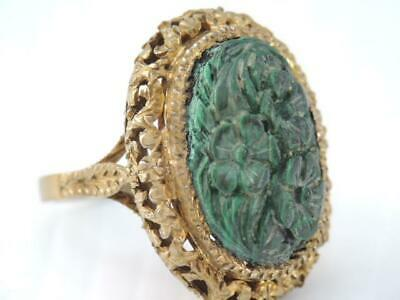 Antique Victorian Gold Sterling Silver Carved Green Stone Ring Ornate