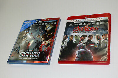 Marvel Captain America Civil War + Avengers age of Ultron 3d blu ray Disc Only