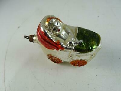 Antique German Feather Glass Angel Figural Christmas Ornament Baby Carriage Vtg