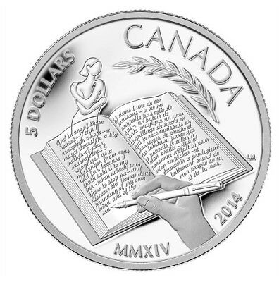 2014 Royal Canadian Mint Alice Munro $5 Fine Silver Coin