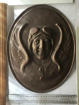 1930 Amy Johnson Australian Made Brass Johnnie Record Breaking Large Plaque