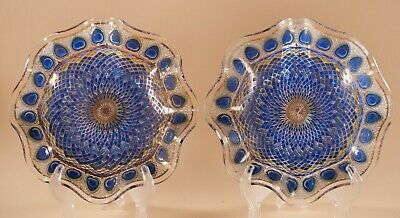 Vtg Houze Art Glass Peacock Feathers Hearts Diamonds Design Dishes Lot of 2