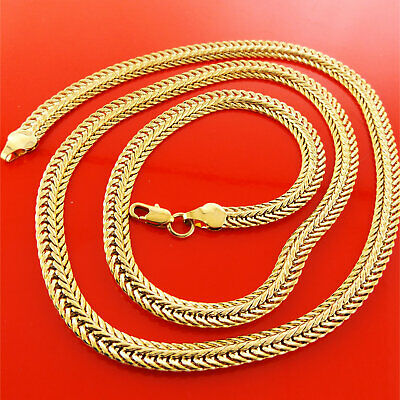 Necklace Pendant Chain Real 18K Yellow G/F Gold Solid Ladies Antique Link Design
