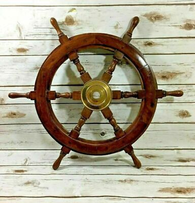 18'' Pirate Wooden Ship Wheel Vintage Boat Nautical Decor Brass Center Gift