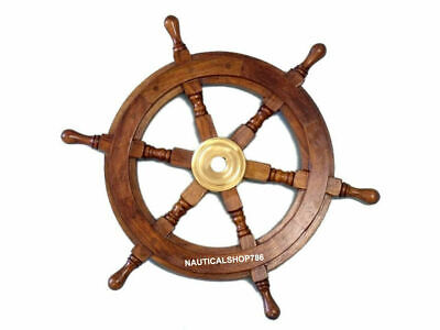 18 Inch Wooden Ship Wheel Wall Vintage Brown Brass Nautical Collectible Decor