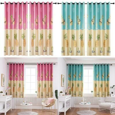 Pineapple Print Polyester Curtain Living Room Blackout Window Blinds Drapes