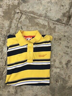 Mens Blue & Yellow Striped Superdry  Polo Shirt Ex  Large In Very Good Con