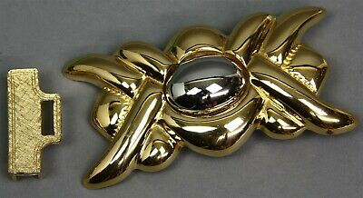 Vintage Signed DOTTY SMITH GOLD & SILVER TONE METAL BELT BUCKLE fit's 1-1/8""