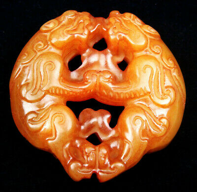 Old Nephrite Jade Hand Carved Pendant Sculpture Double FOO DOG LIONS #07081911R