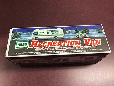 Vintage 1998 Hess Gasoline Toy RV Van Dune Buggy Motorcycle White New w/inserts