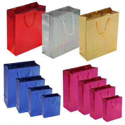 6 x Gift Bags Shiny Holographic Party Wedding Presents Christmas All Sizes Color