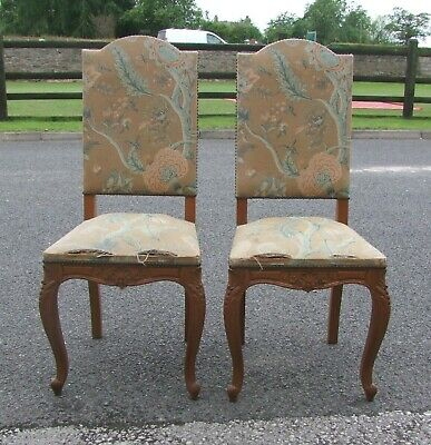 Louis Xv Style French Carved Oak Pair Of Bedroom Chairs -  (Conpbc12)