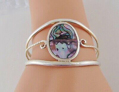 """Mexico Alpaca Silver Abalone Cuff Bracelet 6"""" Stamped 1.5"""" Tall Vintage Guc"""