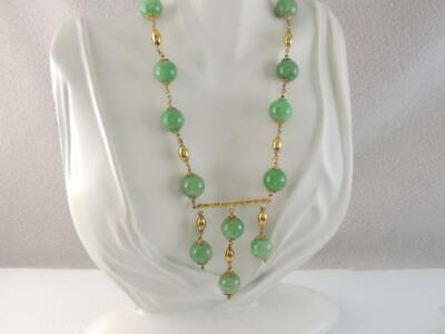 Stunning Antique Chinese Solid 18K Gold Green Jade Jadeite Bead Necklace Look