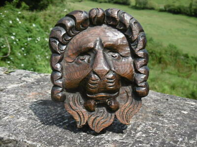 SUPERB 19thc GOTHIC OAK CARVED LION HEAD