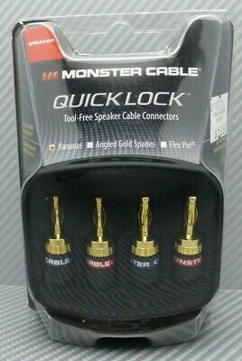 Monster Cable QuickLock bananas Tool-Free speaker cable connectors set of 4