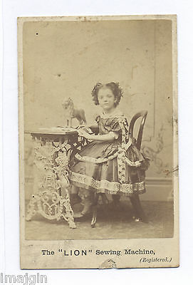 1860's-1870's CDV PHOTO, IRON LION FIGURAL SEWING MACHINE, WITH GIRL SEATED