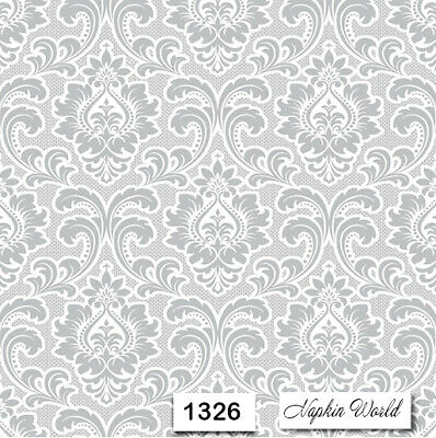 (1326) TWO Individual Paper Luncheon Decoupage Napkins - GRAY PATTERN DESIGN