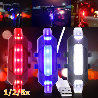 1-5X LED Bike Tail Rear Light USB Rechargeable Bicycle Night Riding Signal Lamp