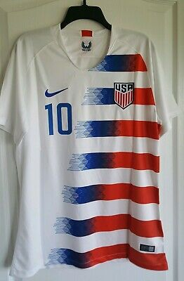 7eced29f6 Christian Pulisic #10 2018-2019 Nike Men's USA Home Soccer Jersey White - XL