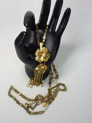 Vintage Miriam Haskell Gold Tone Ornate Baroque Filigree Pearl Bauble Dangle