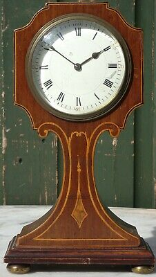 Gorgeous Old Small Wooden Inlaid Fancy Shaped Wooden Mantle Clock On Brass Feet