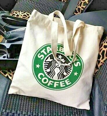 Starbucks Iconic Logo Beige Canvas Tote Bag Reusable Washable Eco-Friendly NEW