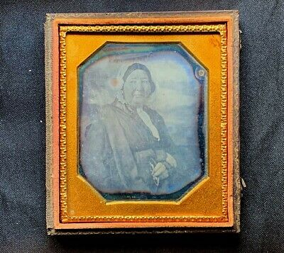 HEFTY Betsy Ross Looking SPECTICLES c1853 6th Plate DAGUERREOTYPE Photo <War