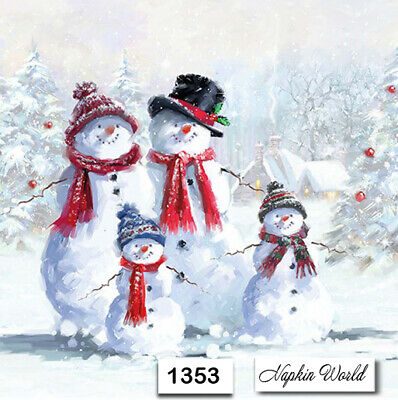 (1353) TWO Individual Paper Luncheon Decoupage Napkin - CHRISTMAS SNOWMAN FAMILY