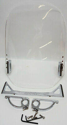 "Wind Vest 10-1264C Motorcycle 16"" tall Windshield Clear w 1"" handle bar mounting"