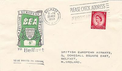 GB : BEA AIRWAYS LETTER SERVICE 8d RATE TO BELFAST (1953)