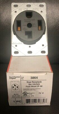 Pass & Seymour 3864 Dryer Receptacle 30A 125/250V Flush Mount 3P 4 Wire