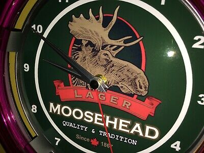 Moosehead Canada Beer Bar Advertising Man Cave Neon Wall Clock Sign