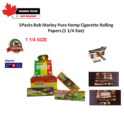 5Packs Bob Marley Pure Hemp Cigarette Rolling Papers (1 1/4 Size)