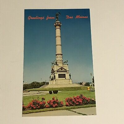 Greetings From Des Moines Postcard Soldier's and Sailor's Monument Iowa